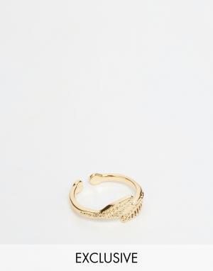 DesignB London Кольцо на палец ноги с листиками. Цвет: золотой
