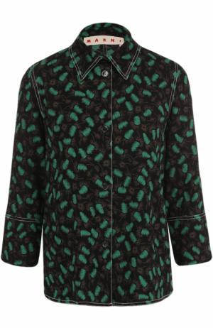 Блуза с принтом и укороченным рукавом Marni. Цвет: зеленый