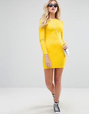 ASOS Облегающее платье мини в рубчик с длинными рукавами. Цвет: желтый