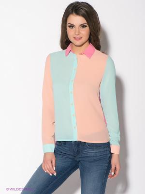 Блузка Oodji. Цвет: розовый, персиковый, бирюзовый