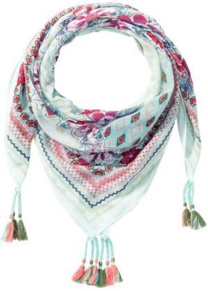 Квадратный платок с цветочным принтом (мятный рисунком) bonprix. Цвет: мятный с рисунком