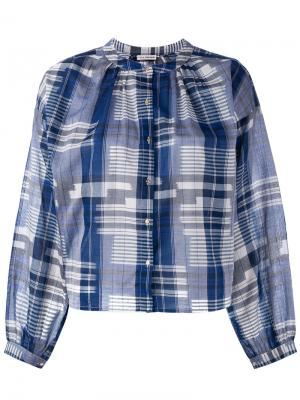 Рубашка в клетку Ulla Johnson. Цвет: синий