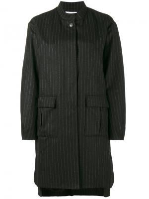 Пальто-кокон в тонкую полоску Lot78. Цвет: синий