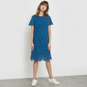 Платье из гипюра с короткими рукавами, 100% хлопка La Redoute Collections. Цвет: слоновая кость