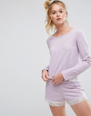 ASOS Пижамные лонгслив и шорты с кружевом мелкой бахромой. Цвет: фиолетовый
