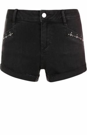 Джинсовые мини-шорты с металлизированной отделкой Paige. Цвет: черный