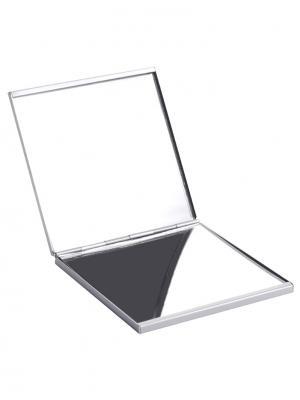 Зеркало для макияжа компактное двустороннее: обычное и с увеличением 10-1128 QVS. Цвет: серебристый
