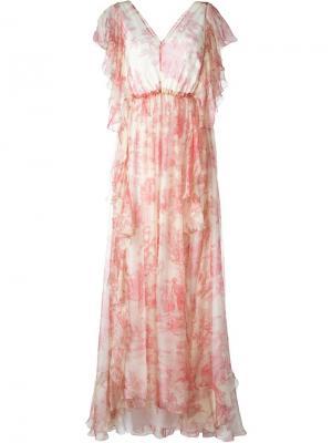 Длинное платье с V-образным вырезом Philosophy Di Lorenzo Serafini. Цвет: телесный