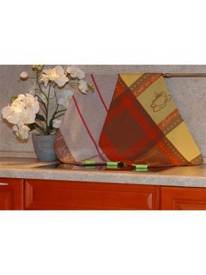 Набор жаккардовых полотенец 50х70 2 штуки SET-7 (Кофе,Эспрессо) в пакете ТекСтиль для дома. Цвет: желтый, коричневый, красный