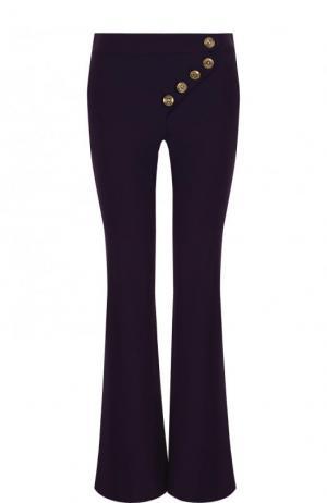 Расклешенные шерстяные брюки с карманами Chloé. Цвет: фиолетовый