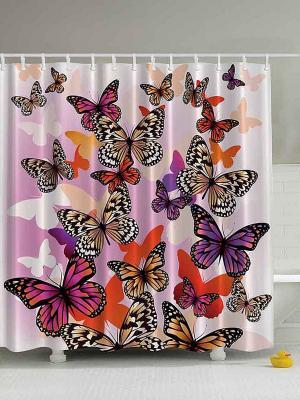 Фотоштора для ванной Бабочки в полёте, 180*200 см Magic Lady. Цвет: белый, розовый