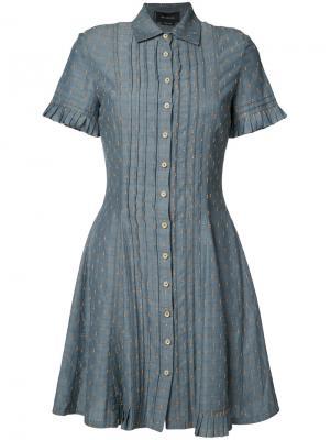 Плиссированное платье-рубашка Yigal Azrouel. Цвет: синий
