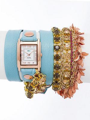 Часы La Mer Collections. Цвет: голубой, золотистый