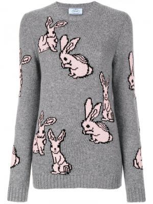 Свитер вязки интарсия с кроликами Prada. Цвет: серый