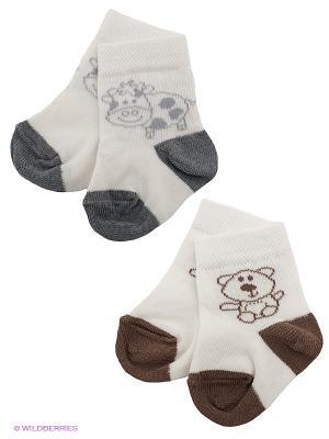 Носки, 2 пары Baby Butt. Цвет: коричневый, кремовый, серый