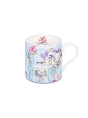 Кружка - подарок Цветы в вазе Elan Gallery. Цвет: голубой, белый, розовый