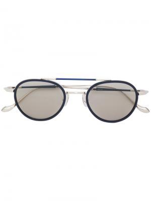 Солнцезащитные очки с двойной планкой Matsuda. Цвет: синий