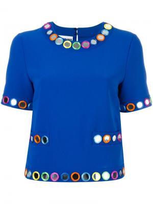 Декорированная блузка с короткими рукавами Moschino. Цвет: синий