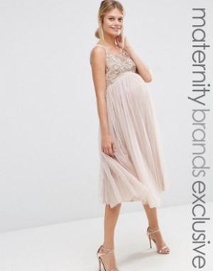 Maya Maternity Платье для беременных с юбкой из тюля и декоративной отделкой Mat. Цвет: бежевый