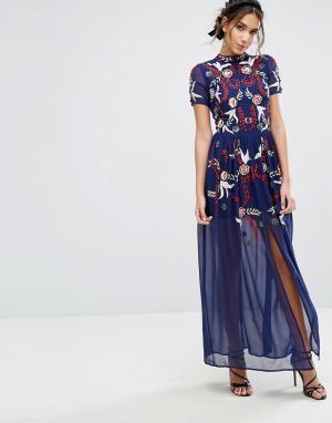 Frock and Frill Платье макси с пайетками &. Цвет: синий