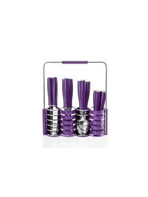 Набор столовых приборов на подставке Floret Plus 24 предмета Elff Ceramics. Цвет: фиолетовый