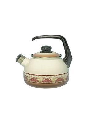 Чайник с бак. руч., со свистком 2,5 л METROT. Цвет: бежевый, коричневый