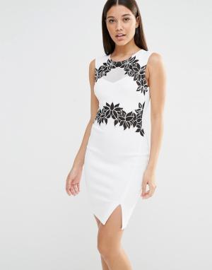 Lipsy Облегающее платье миди с цветочным узором и сеточкой. Цвет: белый