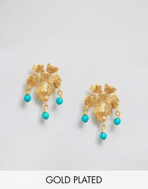 Ottoman Hands Серьги с листиками. Цвет: золотой