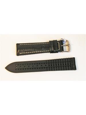 Ремень для часов, им.аллигатора, подложка каучук, черный, 20 х 18 мм J.A. Willson. Цвет: черный