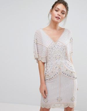 Frock and Frill Платье мини с рукавами летучая мышь и пайетками &. Цвет: фиолетовый
