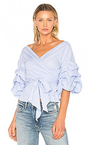 Блузка с запахом beacon street wrap Central Park West. Цвет: синий