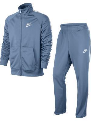 Спортивный костюм M NSW TRK SUIT PK SEASON Nike. Цвет: серо-голубой, белый