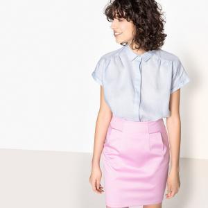 Рубашка с короткими рукавами, 100% льна La Redoute Collections. Цвет: коричнево-желтый,небесно-голубой,черный,экрю