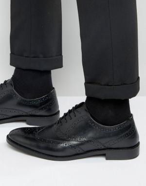 ASOS Черные кожаные оксфордские броги. Цвет: черный