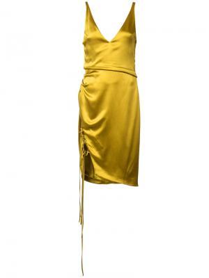 Платье с разрезом на шнуровке Galvan. Цвет: жёлтый и оранжевый