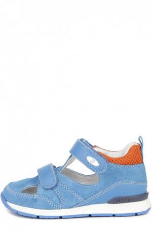 Замшевые сандалии с двойной застежкой велькро Falcotto. Цвет: голубой