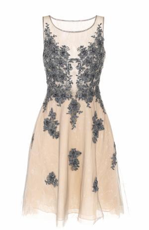 Кружевное мини-платье с вышивкой Basix Black Label. Цвет: бежевый