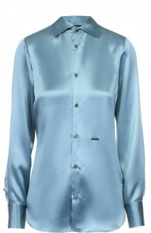 Приталенная шелковая блуза Dsquared2. Цвет: синий