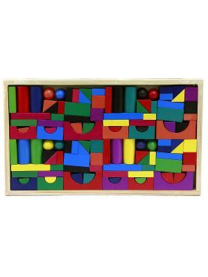 Деревянная игрушка конструктор, 112 деталей. Фабрика Фантазий. Цвет: синий, желтый, красный