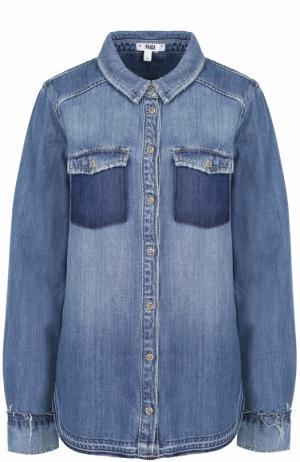 Джинсовая блуза прямого кроя с потертостями Paige. Цвет: синий