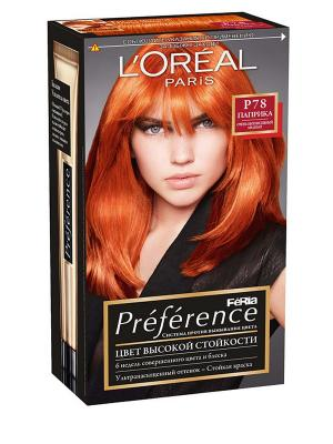 Стойкая краска для волос Preference Feria, оттенок, P78 Паприка L'Oreal Paris. Цвет: рыжий