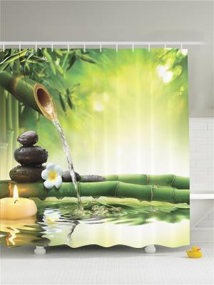 Фотоштора для ванной Спа со свечами и бамбуком, 180*200 см Magic Lady. Цвет: бежевый, желтый, зеленый, молочный, черный