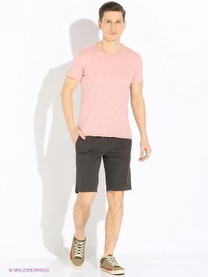 Футболка Sisley. Цвет: розовый, кремовый, бледно-розовый