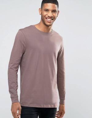 ASOS Фиолетовый удлиненный лонгслив. Цвет: серый
