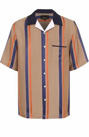 Рубашка из вискозы свободного кроя с шелковой отделкой 3.1 Phillip Lim. Цвет: темно-синий