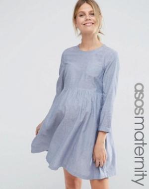 ASOS Maternity Свободное платье для беременных из шамбре с длинными рукавами Mat. Цвет: синий