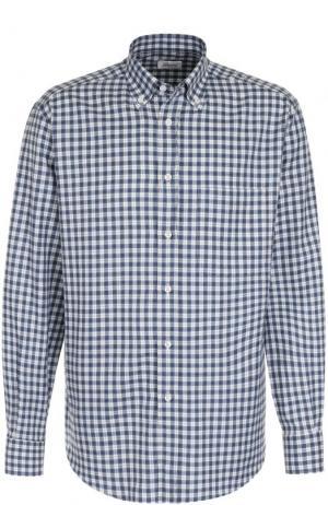 Хлопковая рубашка в клетку с воротником button down Brioni. Цвет: голубой