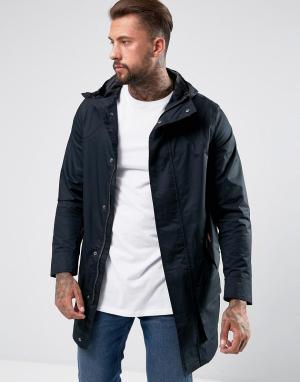Hunter Черное длинное хлопковое пальто. Цвет: черный