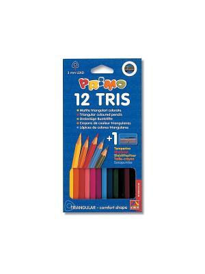 Набор для творчества 12 цв с точилкой Primo. Цвет: синий