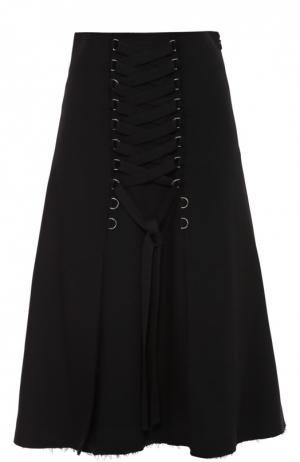 Юбка с необработанным краем и декоративной шнуровкой Proenza Schouler. Цвет: черный